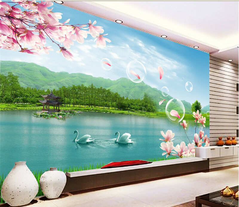 3D Bubble Swan Lake 86 Wall Paper Murals Wall Print Wall Wallpaper Mural AU Kyra
