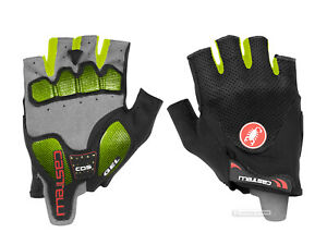 NEW-Castelli-ARENBERG-GEL-2-Summer-Cycling-Gloves-BLACK-YELLOW-FLUO