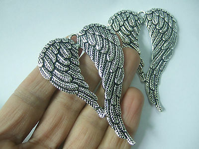 2 Tibetan Silver Tone Large ANGEL WINGS FEATHER Charms Pendants Jewelry Findings