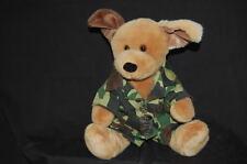 "Barking Army Fatigues Build a Bear Dog  Tags 10"" Plush Stuffed Animal Lovey Toy"