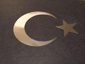 Details about Star & Crescent Moon #2 chrome Turkish Flag Islamic Muslim  Symbol Vinyl Decal 5