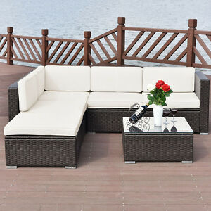 Rattan Wicker Sofa Set Cushioned Sectional Outdoor Garden Patio