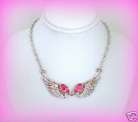 Pink Angel Wings Silver Necklacenursing Graduation Gift For Her Women Friend