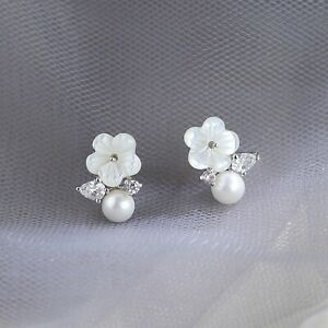 Solid-925-Sterling-Silver-Natural-Pearl-Mother-of-Pearl-Flower-CZ-Leaf-Earrings