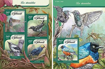 Dschibuti Stare Vögel Tieren Fauna Mnh Stempelset