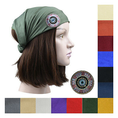 Wide Soft Head Wraps Jersey Cotton Women Hair Headband with Beaded Tribal Accent