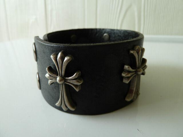 Mens 100% cow leather wristband/bracelet (black). FREE post. (Cross) NWT Gothic.