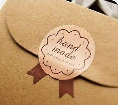 """x15 packaging stickers labels """"hand made"""" gift decorate 2.7 x 3.5cm scrapbooking"""