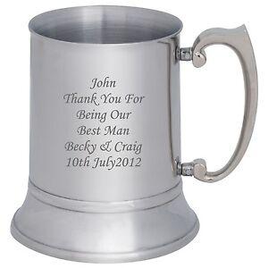 Best Man Gift Personalised Stainless Steel Tankard Engraved Free Wedding
