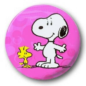 Snoopy-amp-WOODSTOCK-2-5cm-25mm-Boton-Insignia-Original-Charlie-Brown-ROSA