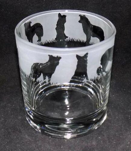"""es 2 or 4 Traditional Glasses New Etched /""""BORDER COLLIE/"""" Whiskey Glass - Buy 1"""