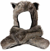 Plush Wolf Animal Hat - Wolf Hat With Ear Flaps And Hand Pockets