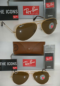 ray ban aviator 3025 62mm  RAY BAN AVIATOR 3025 GOLD FRAME BROWN POLARIZED RB 3025 001/57 ...