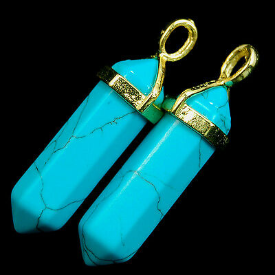 Natural Gemstones Hexagonal Pointed Reiki Chakra Pendant Beads Necklace Earrings