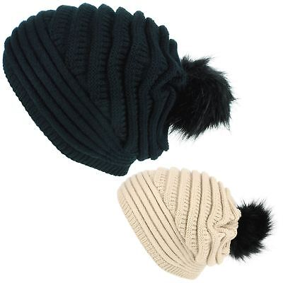 Buono Cap Cappello Beanie Bobble Slouch Caldo Inverno Nero Beige Macahel Donna Lavorato A Maglia-mostra Il Titolo Originale