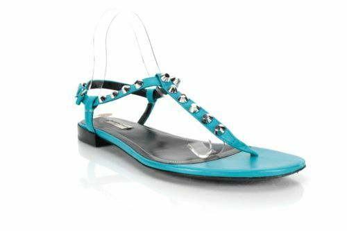 NEW Balenciaga Turquoise Giant Nickel Studded Sandal - 36.5 6.5