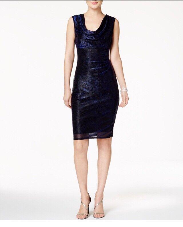 Connected Apparel NEW Blau damen Größe 16 Cowl-Neck Metallic Sheath Dress