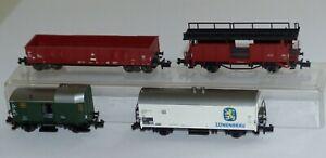 4x-Fleischmann-Gueterwagen-8225-Autotransport-8301-Packwagen-8328-8282-Spur-N-OVP