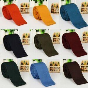 Stylish-Men-Knit-Knitted-Tie-Necktie-Narrow-Slim-Skinny-Solid-Casual-Woven-Tie