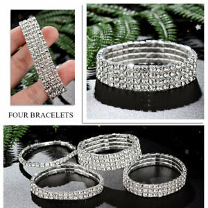 Wholesale-Women-Silver-Crystal-Rhinestone-Bangle-Bracelet-Wedding-Bridal-Jewelry