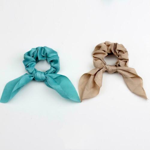Womena Bow Streamer Scrunchie Haar Seil Kaninchen Ohr Heiß Gummibänder Pfer R1J5