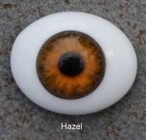 Solid Glass, Flatback Oval Paperweight Eyes - Hazel,  24mm