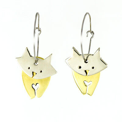 Far-Fetched-DANCING-CAT-HOOP-Earrings-Silver-Brass-Dangle-Mima-Oly-Gift-Boxed
