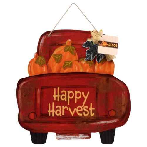 Rustic Fall Harvest Red Pickup Truck Pumpkins Sign Wall Art Hanging Door Porch