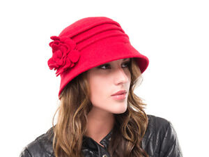 fb01c74e4 Details about BRAND NEW LADIES RED WOOL KNITTED WINTER CLOCHE STYLE HAT  MELANIE