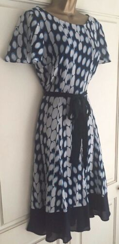 Stampa Circle Dress White New 14 10 Taglia Blue Floaty Navy Per Una Ex M s Belted 4xwqazSB