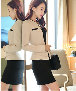 Gonna Elegante Beige Nero Completo Tailleur Donna Manica 7101 Giacca Lunga WeDEH9Y2I