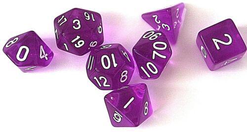 RPG Würfel Set 7-teilig Tabletop DND Lila transparent dice4friends w4-w20