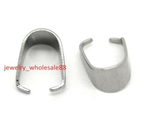 1000pcs 5*10mm Stainless Steel Pendant Pinch Clip Clasp Bail Connector finding