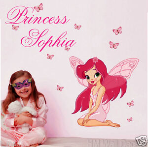 PERSONALISE-Kids-name-amp-FAIRY-BUTTERFLIES-wall-sticker-for-who-desire-special