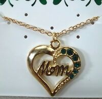 Irish Mom Heart Necklace, 6 Crystal Stones, Gold Plate, Great Mother's Gift