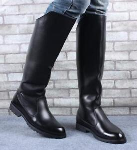 4b4b7907de6 Mens Back Zipper Knee High Riding Knee High Boots Combat Military ...
