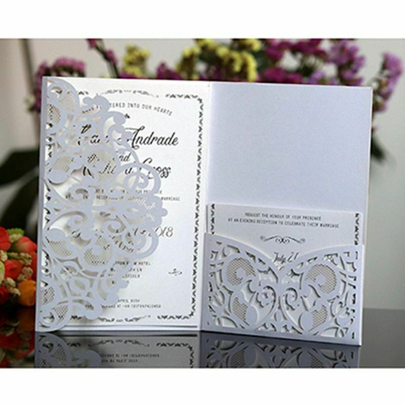 Laser Cut Invitation Card High-grade Paper 50 Pcs Lot Event Party Supplies Cards