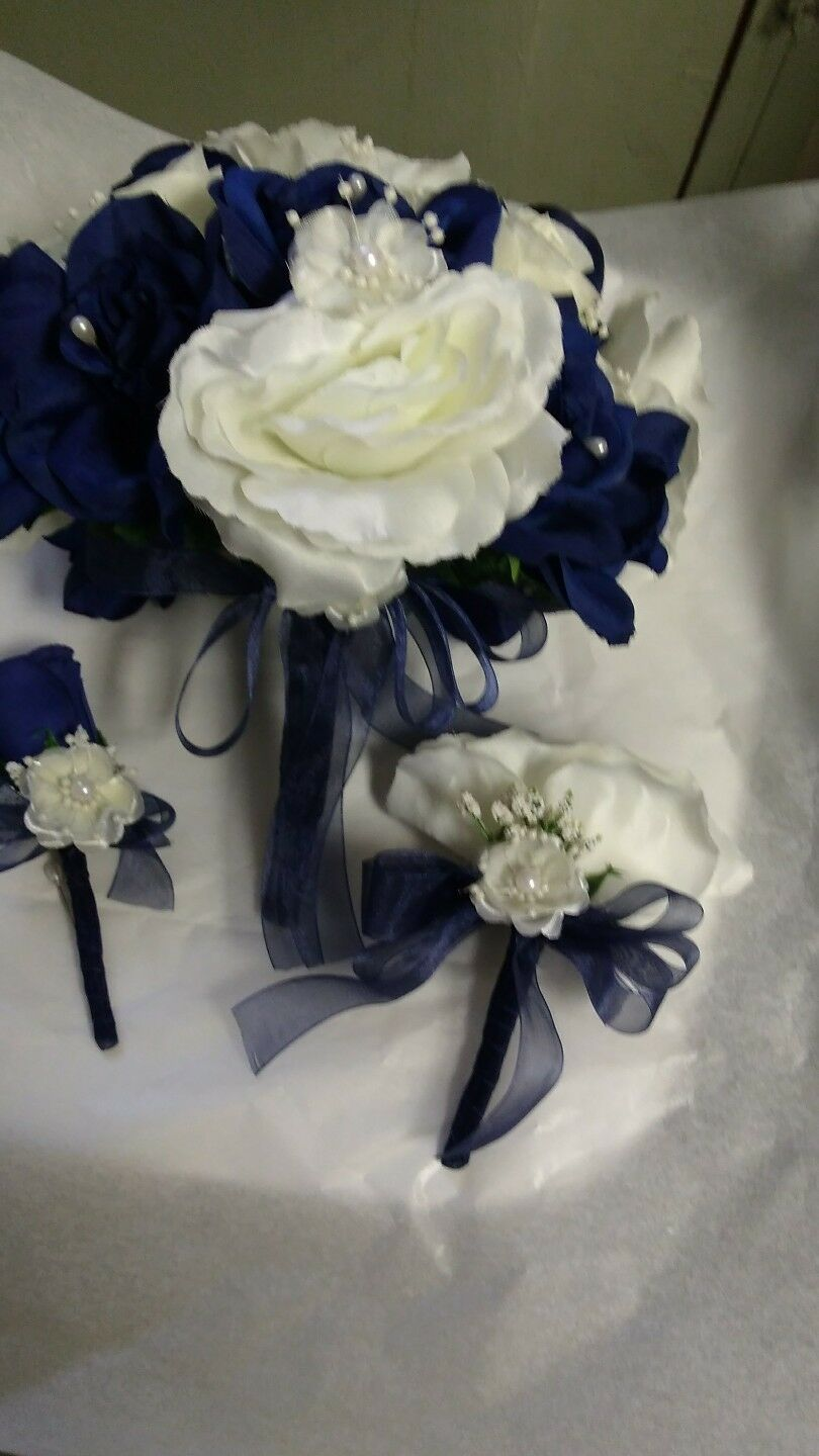 6 pc wedding set Dark Blau and Ivory Any Farbe available. Rush orders AVAILABLE