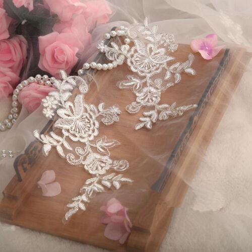 Bridal Lace Applique Floral Soft Wedding Motif Ivory Lace Applique Trim 1 Pair