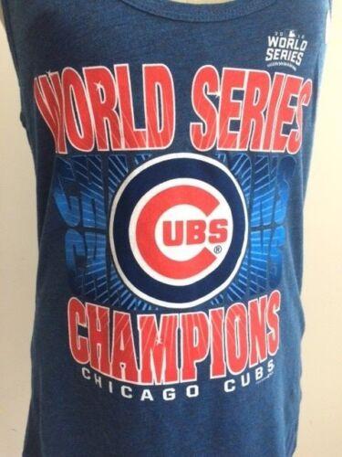 MLB Cubs Chicago 2016 World Series Champions Logo Genuine Merch Tank L Blue NWOT