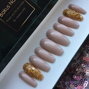 Hand-Painted-False-Nails-Nude-Natural-amp-Gold-Glitter-Coffin-Full-Cover-Press-On