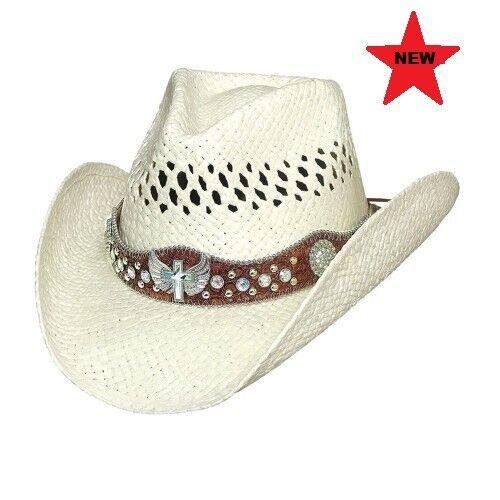 Bullhide White Raffia Straw Hat Long Live Rock /& Roll Western Cowboy