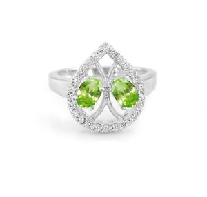 925-Sterling-Silver-Natural-Oval-Cut-Green-Peridot-Ring-Size-5-6-7-8-9-10-11