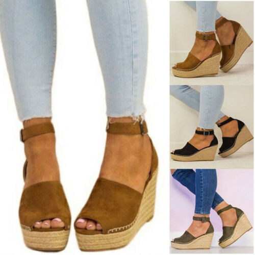 Womens Espadrilles Flatform Wedge Summer Sandals Ankle Strappy Shoes Size Casual