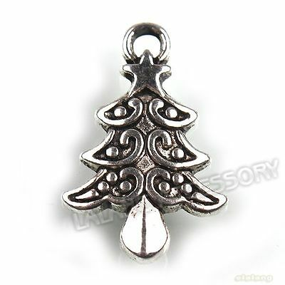 70x 141461 Silver Plated Christmas Tree Charms Pendants 21mm Free Shipping