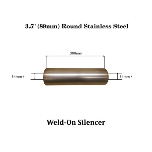 """3.5/"""" x 12/"""" Weld On Stainless Steel Silencer Exhaust Box Body Bore 54mm 2/"""" 1//8"""