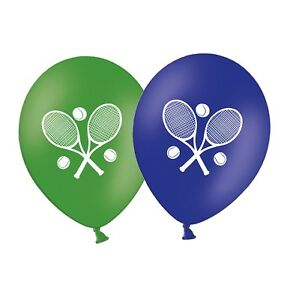 Tennis-Rackets-12-034-Printed-Green-amp-Blue-Assorted-Latex-Balloons-pack-of-6