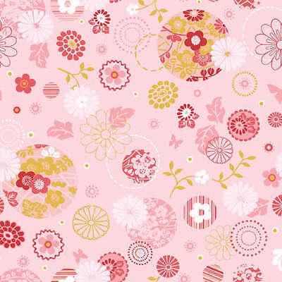 Benartex Fabric - Cherry Blossom Festival - Light Pink Circles Metallic