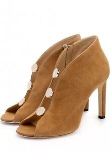 8f2d7aa0f68 Jimmy Choo Lorna Brown Suede Button Open-Toe Booties Size 35.5EU 5.5 ...