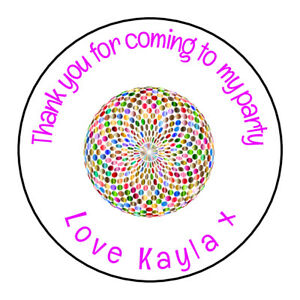 Disco-Ball-Colour-Personalised-Thank-You-Sticker-Party-Sweet-Cone-Birthday